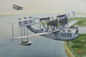 Supermarine Southampton over the South Coast - Original Watercolour - NOT FOR SALE